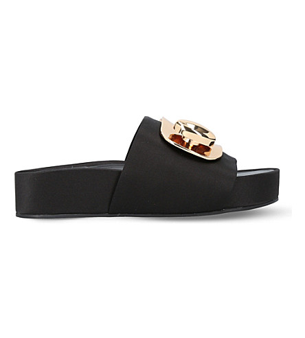 STELLA LUNA Turnlock satin slides (Black