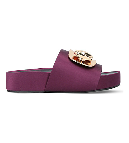 STELLA LUNA Turnlock satin slides (Wine