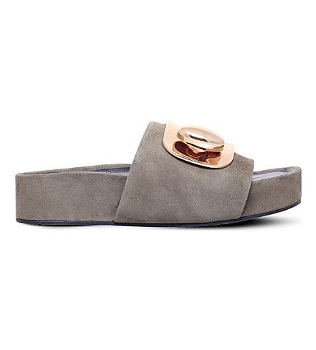 STELLA LUNA Turnlock suede slide sandals (Khaki