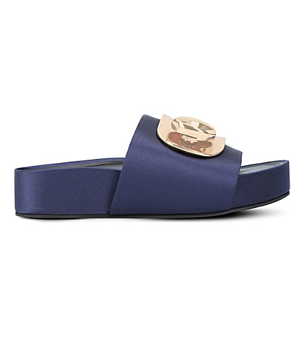 STELLA LUNA Platform satin pool slides (Navy