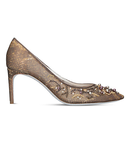 RENE CAOVILLA Pointed toe lace court shoes (Bronze+com