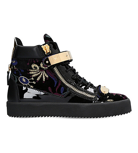 GIUSEPPE ZANOTTI Embroidered patent-leather trainers (Blk/other