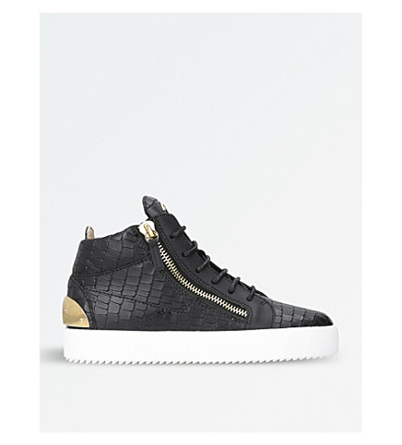 GIUSEPPE ZANOTTI Croc-embossed leather mid-top trainers (Black