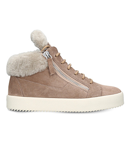 GIUSEPPE ZANOTTI Mid-top shearling and leather trainers (Taupe