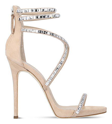 GIUSEPPE ZANOTTI Harlee embellished suede sandals (Beige