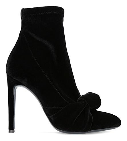 GIUSEPPE ZANOTTI Twist knot velvet ankle boots (Black