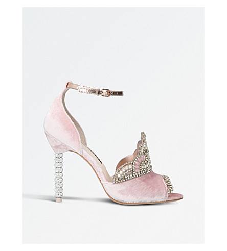 SOPHIA WEBSTER Royalty embellished tiara-detail velvet sandals (Pale+pink