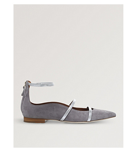 MALONE SOULIERS Robyn suede pointed-toe flats (Grey
