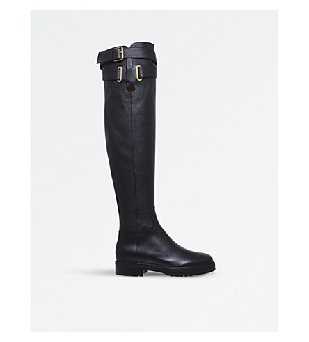VALENTINO Bowrap over-the-knee leather boots (Black