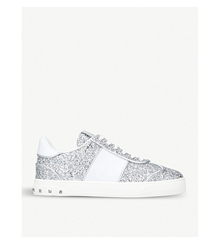 VALENTINO Fly Crew smooth and glittered leather trainers (Silver+com