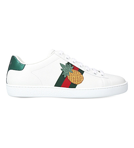 GUCCI New Ace pineapple-embellished leather trainers (White/oth