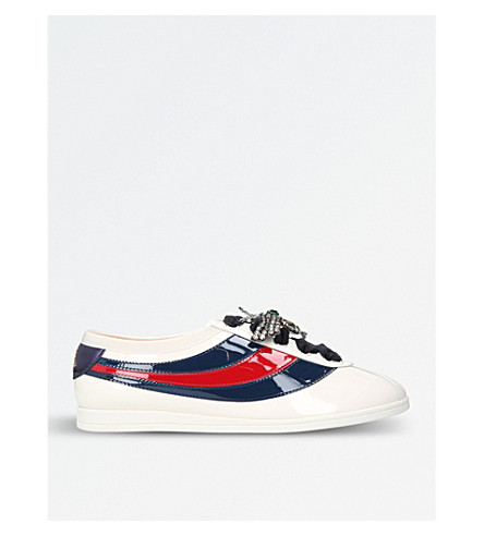 GUCCI Falacer leather crystal-embellished trainers (White/oth