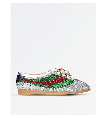 GUCCI Falacer metallic glittered leather low-top trainers (Silver+com