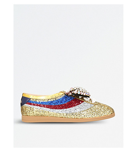 GUCCI Falacer glitter-embellished trainers (Gold