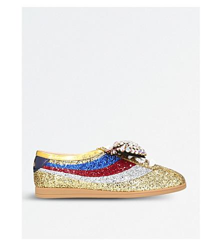 GUCCI Falacer 闪光点缀的运动鞋 (金色