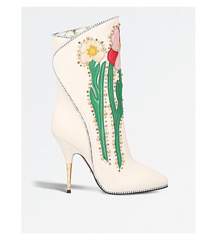 Floral-appliquéd leather boots(1195118019)