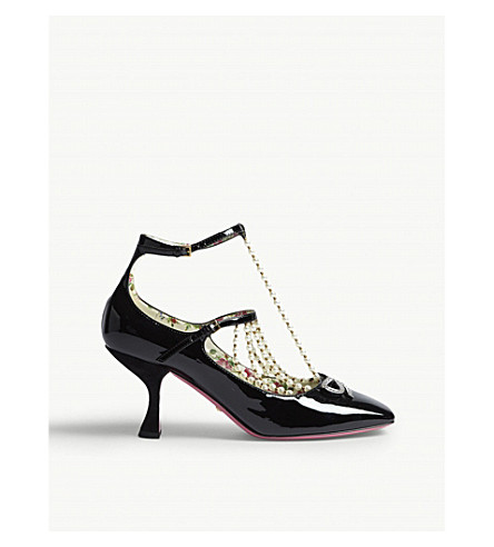 GUCCI T-strap leather pump with pearls (Black