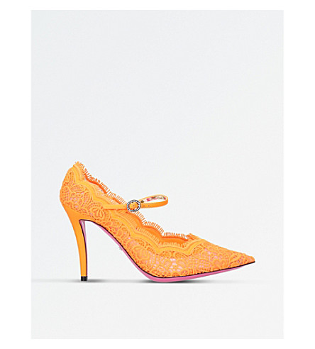 GUCCI Lace Pump (Orange