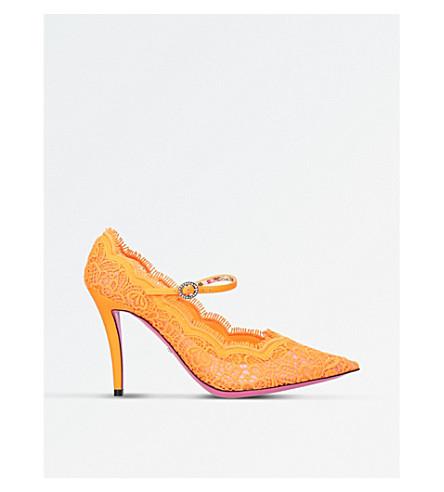 GUCCI 蕾丝宫廷鞋 (橙色