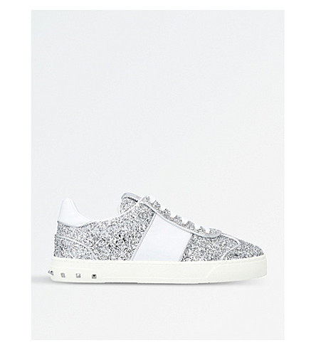 VALENTINO Fly Crew leather glitter trainers (Silver+com