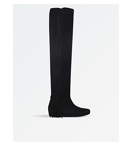 ETRO Fringe over-the-knee suede boots (Black