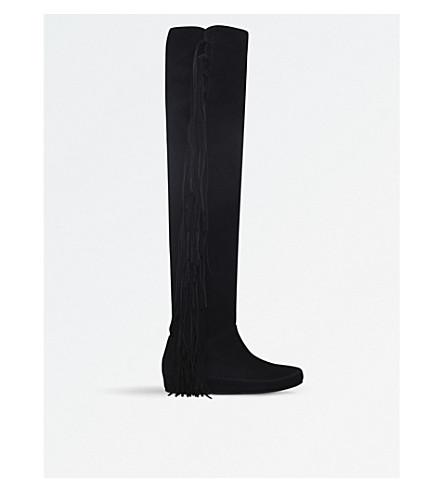 ETRO 条纹 over-the-knee 麂皮绒靴子 (黑色