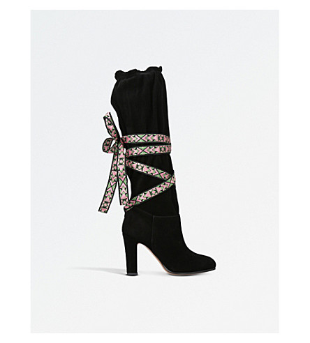 ETRO Ribbon-tied suede over-the-knee boots (Black