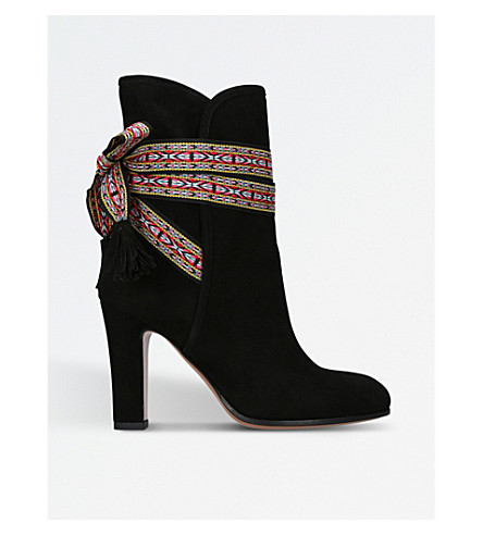 ETRO Ribbon-tied suede ankle boots (Black