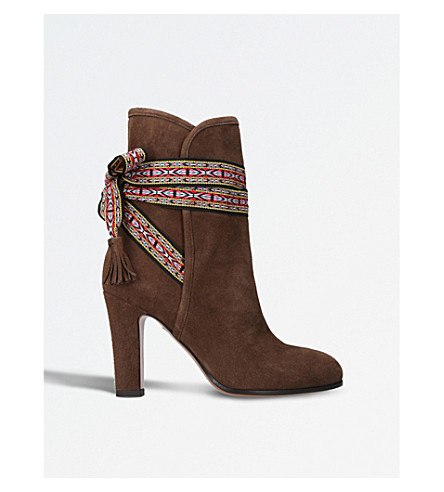 ETRO Ribbon-tied suede ankle boots (Brown