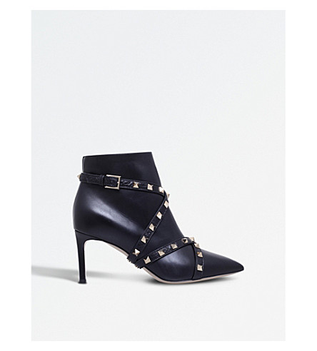 VALENTINO Studwrap 75 leather ankle boots (Black