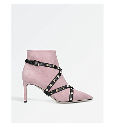VALENTINO Studwrap 75 suede ankle boots (Pale+pink