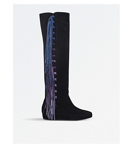 ETRO Fringe over-the-knee suede boots (Blk/other
