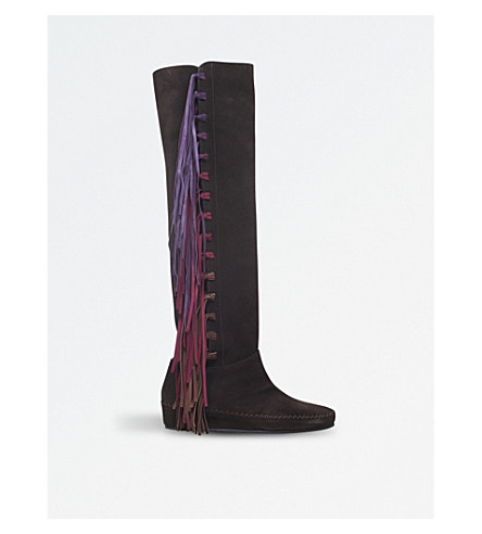ETRO Fringe over-the-knee suede boots (Brown/oth