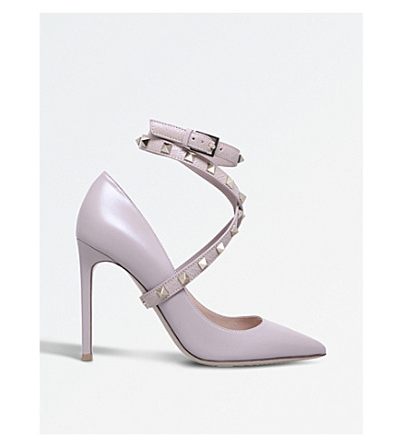 VALENTINO Studwrap 105 leather courts (Nude