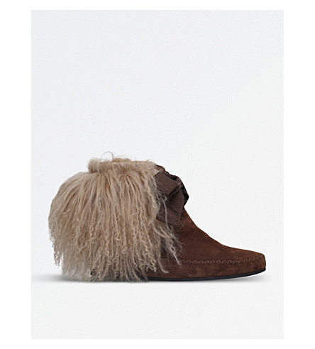 ETRO Curly shearling suede ankle boots (Tan