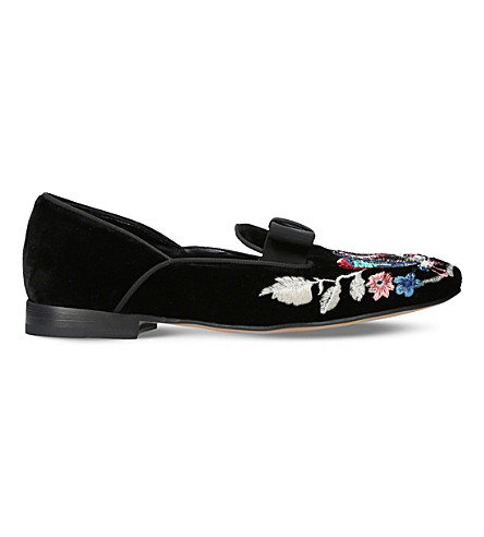 ETRO Embroidered velvet loafers (Black