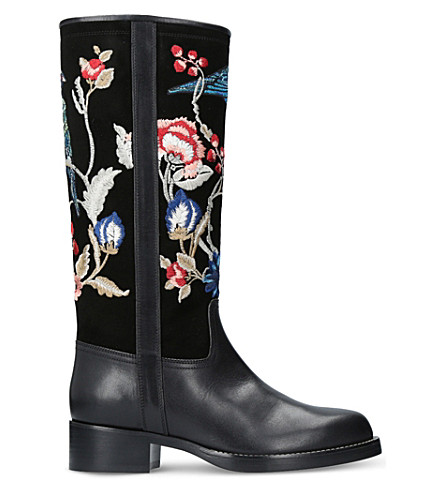 ETRO Embroidered leather and suede boots (Black