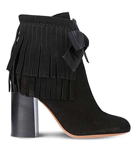 ETRO 条纹麂皮绒脚踝靴 (黑色
