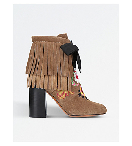 ETRO Fringe embroidered suede heeled ankle boots (Tan