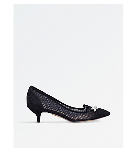 CHARLOTTE OLYMPIA Kitten suede and fishnet courts (Black