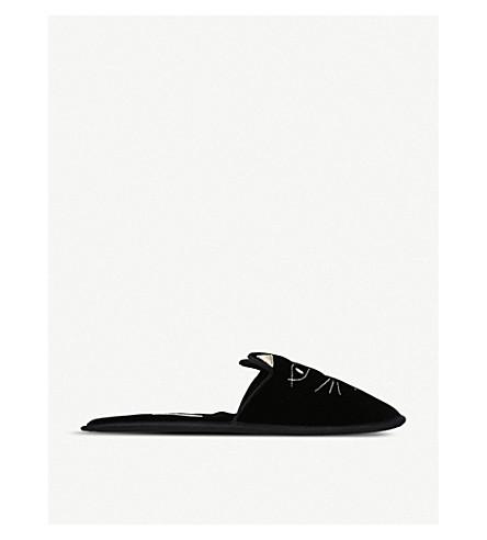 CHARLOTTE OLYMPIA 家猫刺绣天鹅绒拖鞋 (黑色