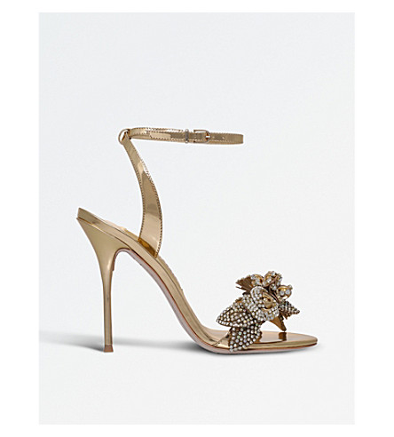 SOPHIA WEBSTER Lilico satin heeled sandals (Gold