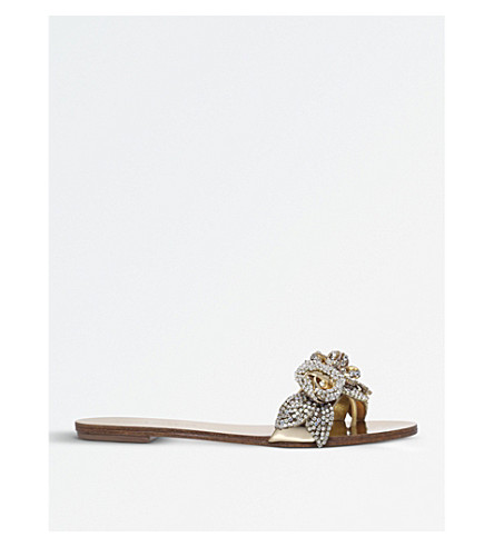 SOPHIA WEBSTER Lilico satin sliders (Gold
