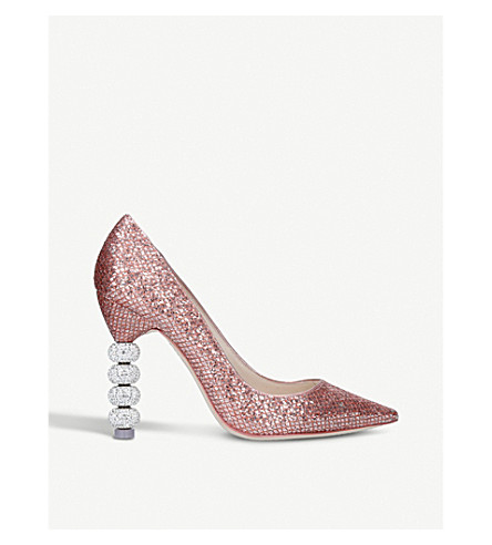 SOPHIA WEBSTER Coco Crystal metallic court shoes (Metal+comb