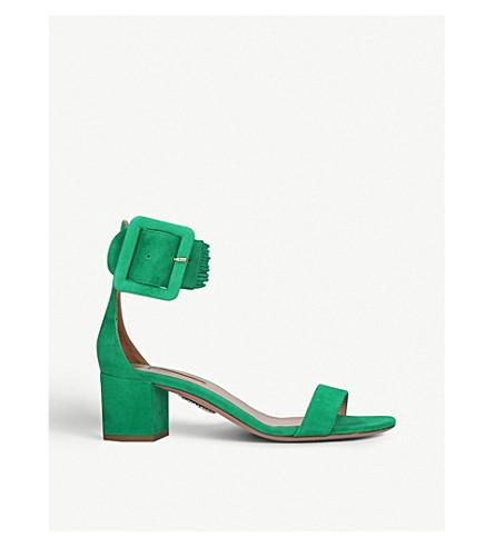 AQUAZZURA 卡萨布兰卡 50 绒面革凉鞋 (绿色