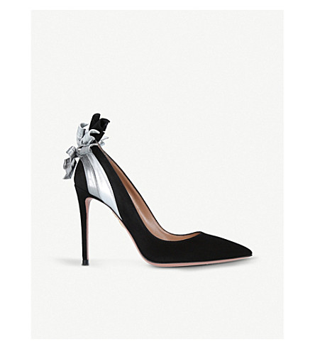 AQUAZZURA Fire embellished suede courts (Black