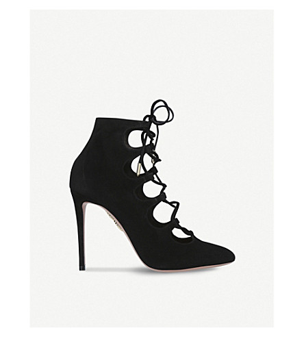 AQUAZZURA Flirt lace-up suede booties (Black