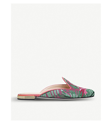 CHARLOTTE OLYMPIA Flamingo embroidered mules (Mult/other