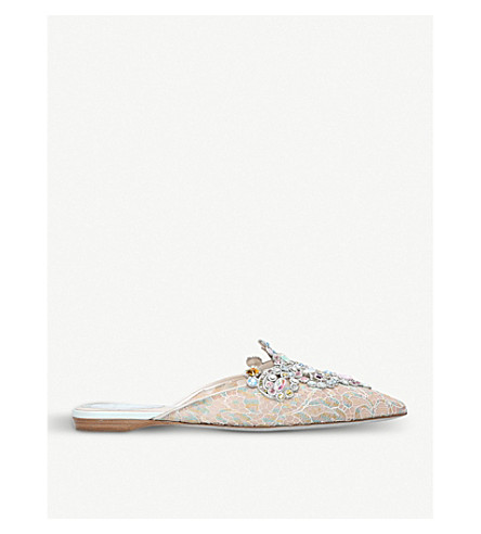 RENE CAOVILLA Lace jewel embellished mules (Mult/other