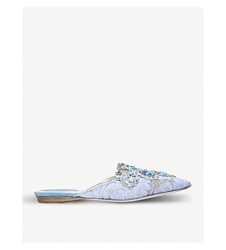 RENE CAOVILLA Embellished lace and suede flats (Blue/pal.c
